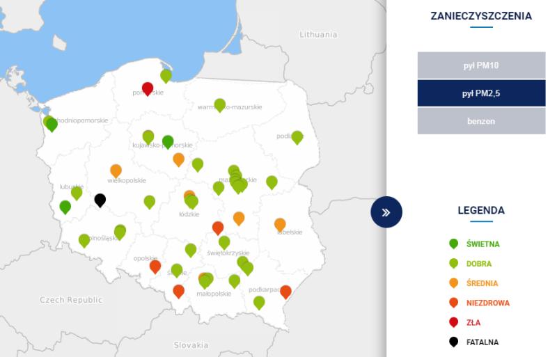 Stężenie pyłu PM2,5 w Polsce o godzinie 18 (tvnmeteo.pl za GIOŚ)