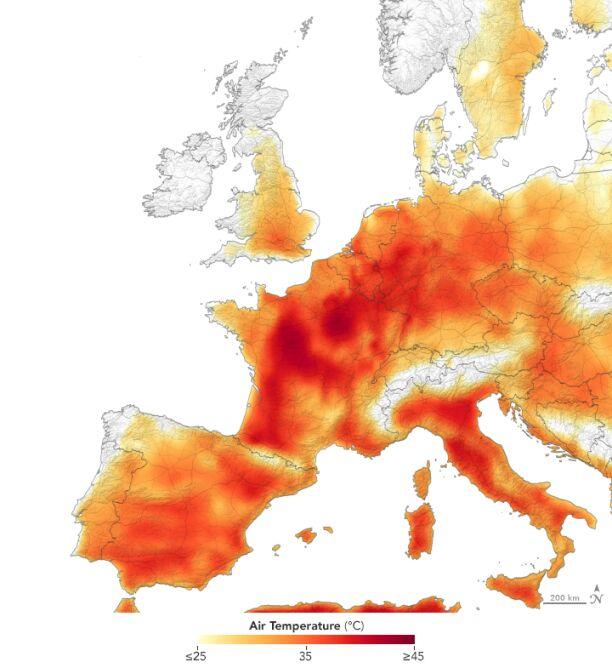 Maksymalna temperatura w Europie w czwartek 25 lipca (NASA Earth Observatory)