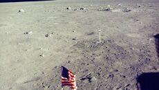Amerykańska flaga na powierzchni Księżyca 1969