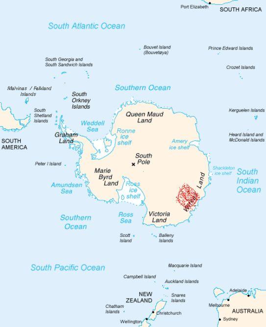 Mapa Antarktydy z zaznaczoną Ziemią Wilkesa (wikipedia)