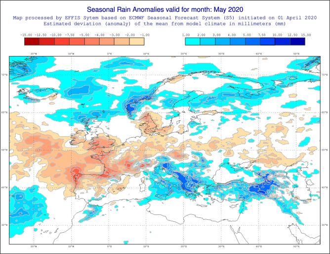 Prognozowane odchylenie miesięcznej sumy opadów w maju 2020 od normy wieloletniej (ECMWF)