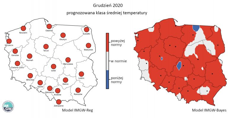 Prognozowana klasa średniej miesięcznej temperatury powietrza w grudniu 2020 r. według modelu IMGW-Reg i IMGW-Bayes (IMGW-PiB)