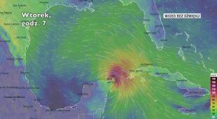 Prognozowana trasa burzy tropikalnej Zeta (Ventusky.com)